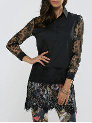 Lace Spliced Long Sleeve Sheer Scalloped Shirt