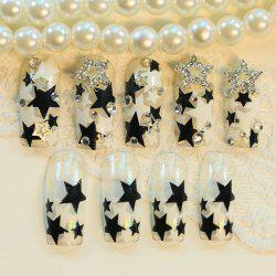 24 PCS Rhinestone Pentagram Pattern Nail Art False Nails -