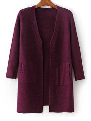 Collarless Ribbed Pocket Design Cardigan -