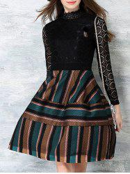 Color Block Stripe Long Sleeve Lace Dress - KHAKI