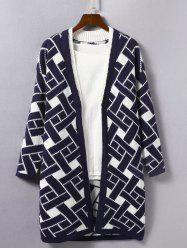 Geometric Print Loose Knitted Cardigan