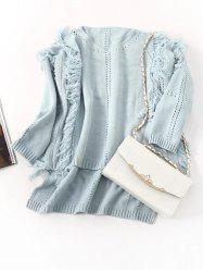 Fringed High Low Hem Openwork Sweater -