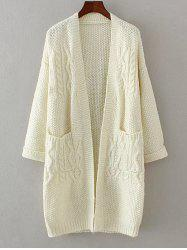 Textured Double Pockets Long Open Front Cardigan - OFF-WHITE