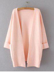 Hemming Sleeves Double Pockets Long Knit Cardigan -