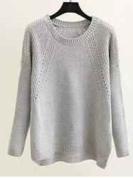 Loose Openwork  High Low Hem Sweater