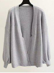 Textured Puff Sleeves Knitted Cardigan -