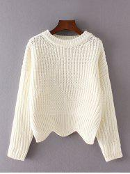Scalloped Hem Asymmetric Chunky Sweater - WHITE