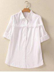 Buttoned Fringed Hemming Sleeves Shirt - WHITE 4XL