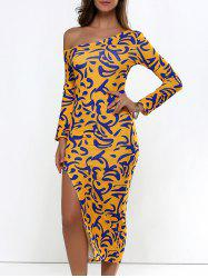 Long Sleeve Printed Slit Midi Bodycon Dress