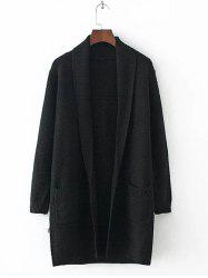 Long Sleeve Double Pockets Textured Long Knit Cardigan - BLACK