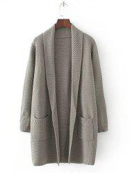 Long Sleeve Double Pockets Textured Long Knit Cardigan -