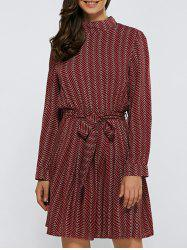Stand Collar Zig Zag Tie-Waist Dress - WINE RED