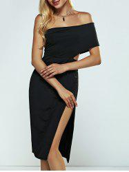 Off The Shoulder High Slit Slimming Dress
