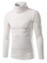 Turtle Neck Vertical Rib Long Sleeve Sweater -
