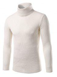 Turtle Neck Vertical Whorl Long Sleeve Sweater -