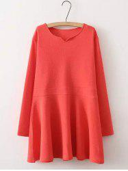 Textured Long Sleeves Smock Dress