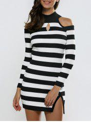 Keyhole Open Shoulder Slit Stripe Sweater Dress - BLACK