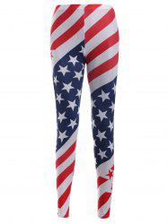 Elastic Waist Star Print Stripe Leggings