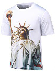 Plus Size Round Neck 3D Statue of Liberty Print Short Sleeve T-Shirt - WHITE