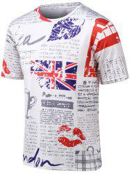 Plus Size Round Neck Union Jack and Lip Print Short Sleeve T-Shirt - COLORMIX 4XL