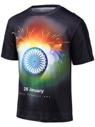 Plus Size Round Neck Colorful Fireworks Print Short Sleeve T-Shirt