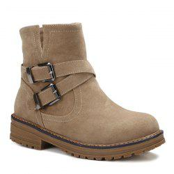 Cross Straps Double Buckle Suede Short Boots -