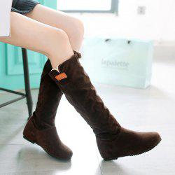 Suede Hidden Wedge Mid Calf Boots -