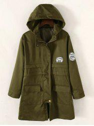 Twin Pockets Applique Drawstring Anorak Hooded Coat - ARMY GREEN