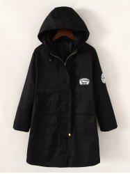 Twin Pockets Applique Drawstring Anorak Hooded Coat - BLACK