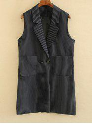 Striped Double Pockets Waistcoat - BLACK