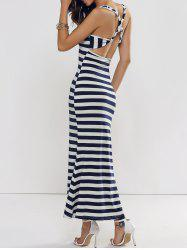 Backless Club Criss Cross Stripe Jersey Maxi Dress - BLUE AND WHITE L