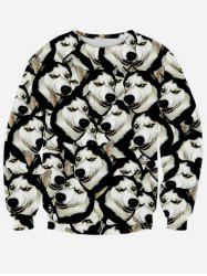 Long Sleeve Round Neck 3D Animal Print Sweatshirt - BLACK XL