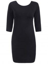Cut Out Bodycon Dress - BLACK