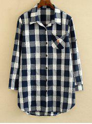 Checked Hemming Sleeves Shirt