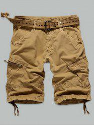 Pocket Rivet Zippered Knee Length Cargo Shorts - EARTHY