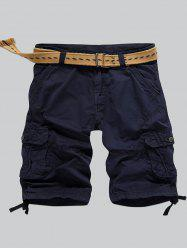 Multi-Pocket Zipper Fly Straight Cargo Shorts - DEEP BLUE