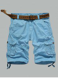Multi-Pocket Zipper Fly Straight Cargo Shorts - AZURE