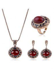 Faux Ruby Engraved Floral Jewelry Set -