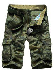 Camo Multi-Pocket Straight Leg Cargo Shorts - ARMY GREEN