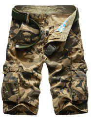 Camo Multi-Pocket Straight Leg Cargo Shorts - KHAKI
