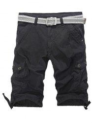 Loose-Fitting Zipper Fly Drawstring Hem Cargo Shorts - BLACK