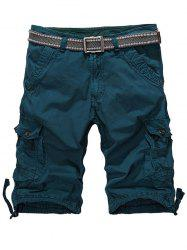 Loose-Fitting Zipper Fly Drawstring Hem Cargo Shorts - BLACKISH GREEN