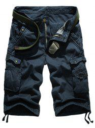 Snap Button Multi-Pocket Straight Leg Zipper Fly Cargo Shorts -