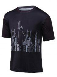 Round Neck Statue of Liberty Printed T-Shirt - BLACK 3XL