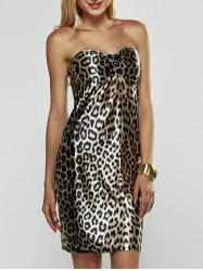 Leopard Strapless Backless Dress