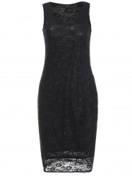 Openwork Lace Knee Length Sheath Dress - BLACK XL
