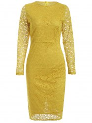 Long Sleeve Lace Openwork Sheath Dress