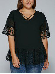 Plus Size V Neck Lace Spliced Blouse