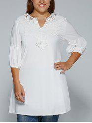 Plus Size Crochet Lace Splicing V Neck Blouse
