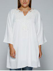 Plus Size Crochet Lace Splicing Loose-Fitting Blouse - WHITE 5XL